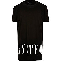 Black Systvm longer length logo t-shirt