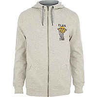 Grey basketball zip through hoodie