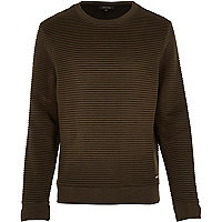Dark green ripple textured sweatshirt