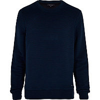 Navy ripple textured sweatshirt