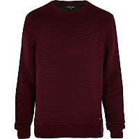 Dark red ripple textured sweatshirt