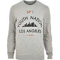 Grey youth nation LA print sweatshirt