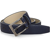 Navy pebbled square buckle belt