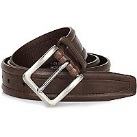 Brown  stitch detail square buckle belt