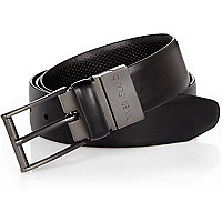 Black reversible square buckle belt