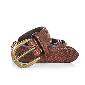 Brown embossed woven belt
