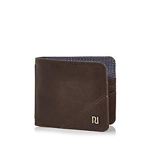 Brown foldover branded wallet