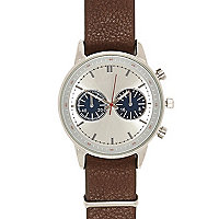 Brown two dial smart watch