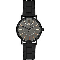Black simple rose gold tone watch