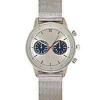 Silver tone mesh strap two dial watch