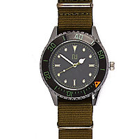 Green canvas strap watch