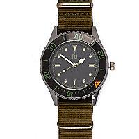 Green canvas strap watch