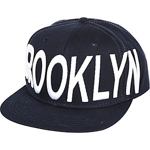 Navy Brooklyn flatpeak hat