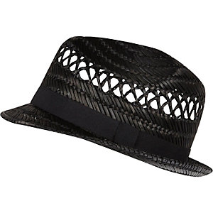 Black straw trilby hat