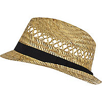 Ecru natural straw trilby hat