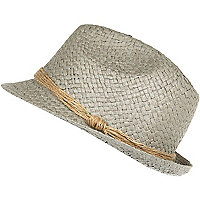 Grey woven trilby hat
