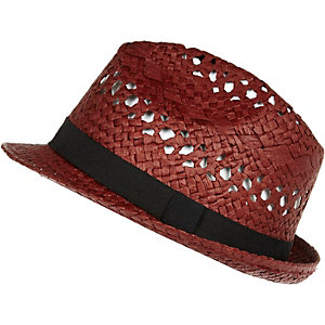 Red natural straw trilby hat