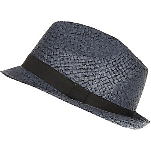 Navy natural straw trilby hat