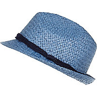 Blue natural straw trilby hat