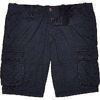 Navy twill cargo shorts