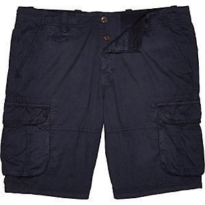 Navy twill knee length cargo shorts