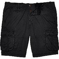 Black twill cargo shorts