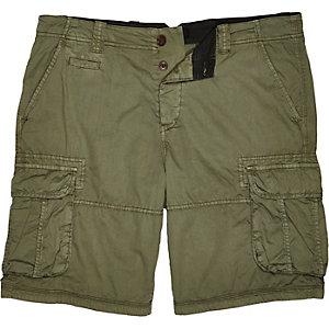 Green twill cargo shorts