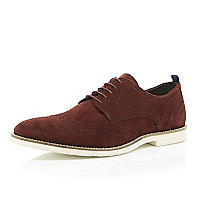 Red suede formal lace up brogues