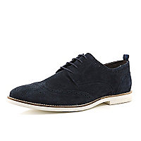 Navy suede formal lace up brogues