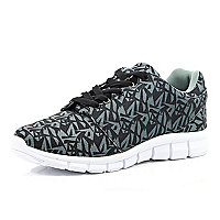 Grey graphic print trainers