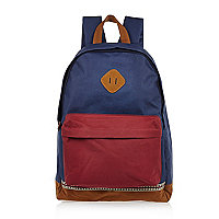 Navy colour block backpack