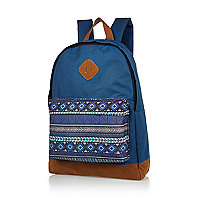 Blue Aztec pocket backpack