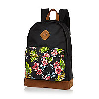 Black floral print canvas backpack