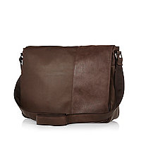 Brown panel flapover bag