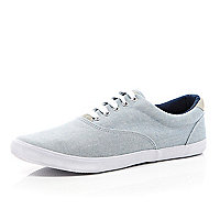 Blue chambray lace up plimsolls