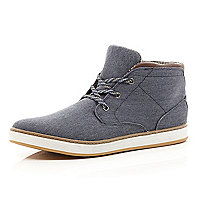 Navy canvas lace up mid top boots