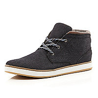 Black denim lace up mid top boots