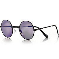 Blue round sunglasses