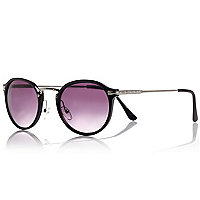 Black preppy round sunglasses