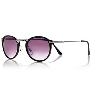 Black preppy round sunglasses
