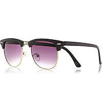 Brown wood effect retro sunglasses