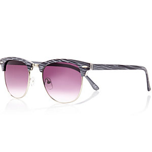 Grey printed tinted lens retro sunglasses