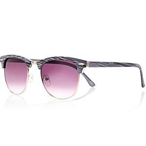 Grey printed tinted lens retro sunglasses