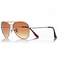 Gold tone classic aviator sunglasses