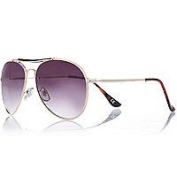 Gold tone brow bar tinted aviator sunglasses