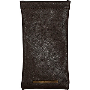Brown textured sunglasses case