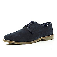 Navy suede formal shoes