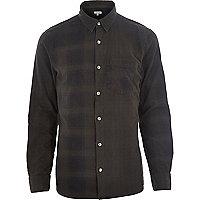 Grey check long sleeve shirt