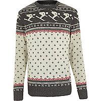 Ecru Bellfield jacquard knitted jumper