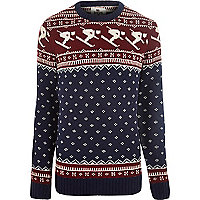 Navy Bellfield ski field knitted jumper